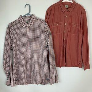 J. Crew xL red chambray / check button down shirts